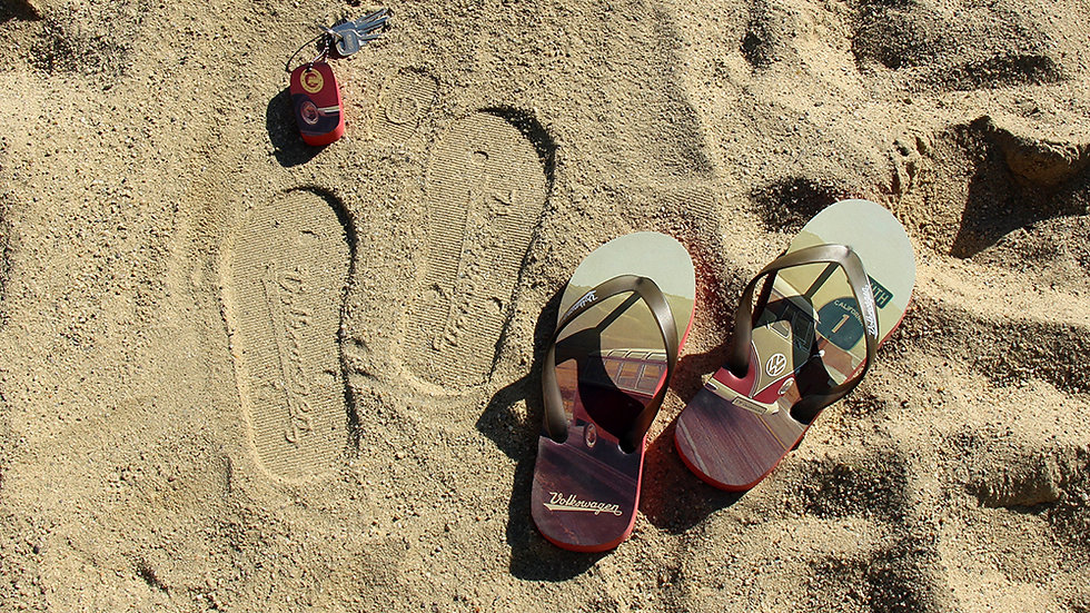 VW T1 Combi Sandales de plage  - Highway 1/rouge