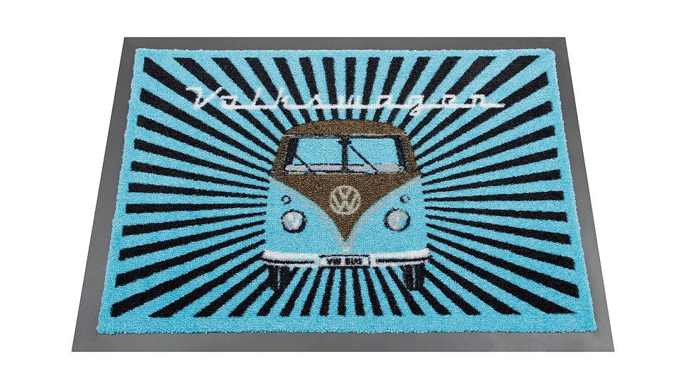 VW T1 Combi Paillasson, 70x50cm - Rayure/bleu pétrole