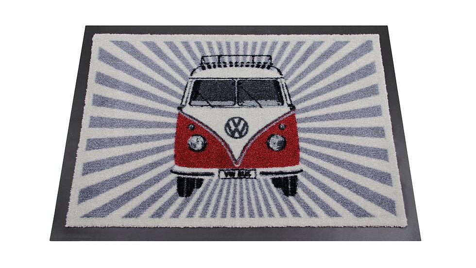 VW T1 Combi Paillasson, 70x50cm - Rayure/rouge