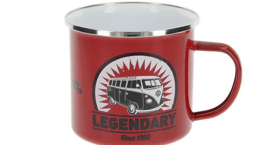 VW T1 Combi Tasse émaillé 500ml - Vintage Logo/rouge