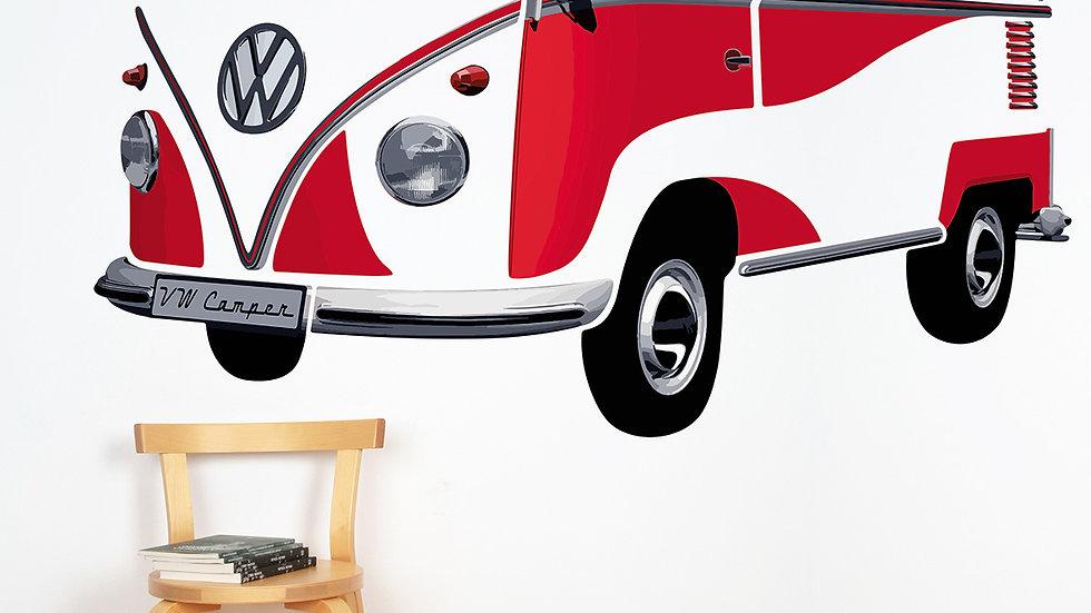VW T1 Combi Sticker muraux - rouge