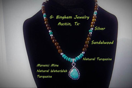 Morenci water-web and sandalwood necklace WN-1003
