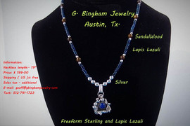 Lapis Lazuli ( Lazulite-Afghanistan ) Freeform Necklace. WN-1005