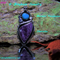 ***SOLD***Charoite and Morenci Turquoise Pendant NP-1010