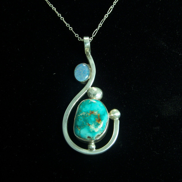 ***SOLD***Turquoise and Opal Pendant
