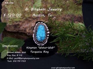 Kingman Water Web Turquoise Ring.