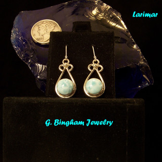 Larimar Oval Ear Rings **SOLD**