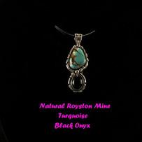 Royston Turquoise and Onyx Pendant NP-1009