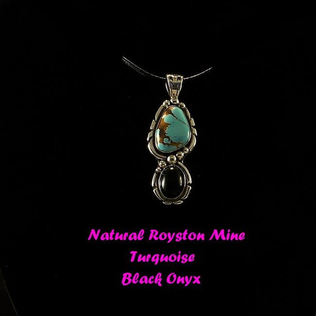 Royston Turquoise and Onyx Pendant NP-1009