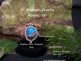 Kingman Mine Turquoise Stone with a  Pyrite Inclusion.Ring