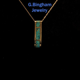 SOLD Inlaid Turquoise Bar Pendant