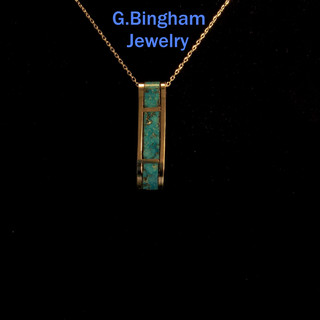 Inlaid Turquoise Bar Pendant