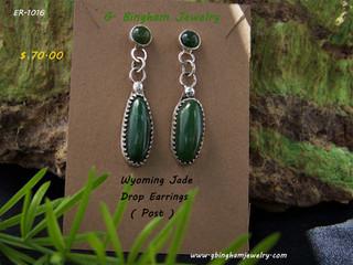 ***SOLD***ER-1016 Jade drop earings.
