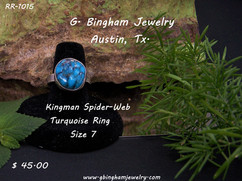 Kingman SpiderWeb Turquoise Ring RR-1015