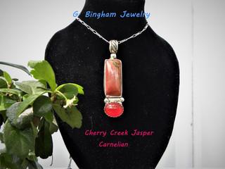 0003 Jasper and carnelian pendant