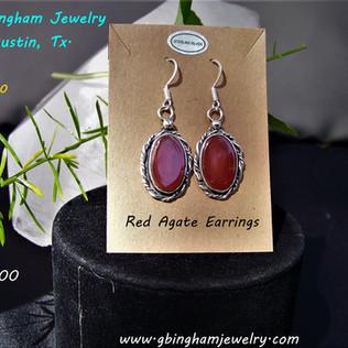 Red, banded, Agate earringsER-1090