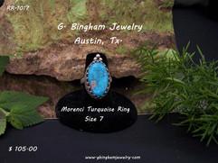 Natural, hard, blue Kingman Turquoise Ring RR-1017