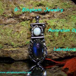 ***SOLD***Labradorite and Opal Pendant NP-1025