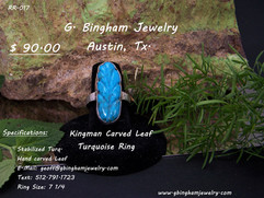 Kingman Mine Turquoise, carved Leaf Ring
