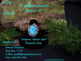 Kingman Water Web Turquoise Ring