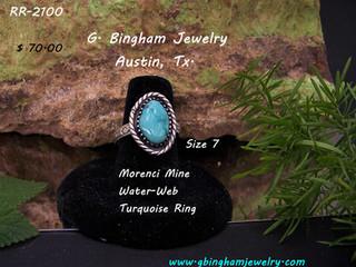 Morenci Mine Waterweb Turquoise Ring RR-2100
