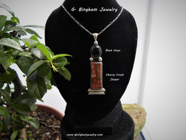 0002 Cherry Creek Jasper and onyx pendant