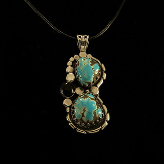 ***SOLD***Cheyenne Mine Turquoise and Onyx Pendant