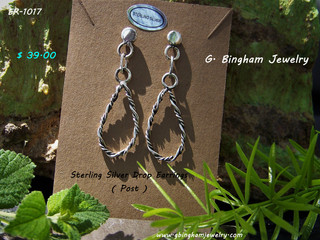 SOLD but more available ER-1017 Silver drop earings.