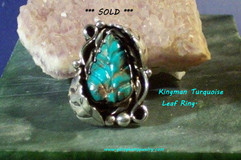 Kingman Turquoise carved Leaf Ring *** SOLD ***