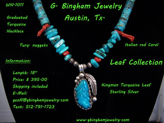 Turquoise Leaf Necklace MW 1011