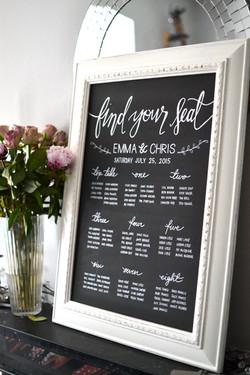 Framed Chalkboard Table Plan