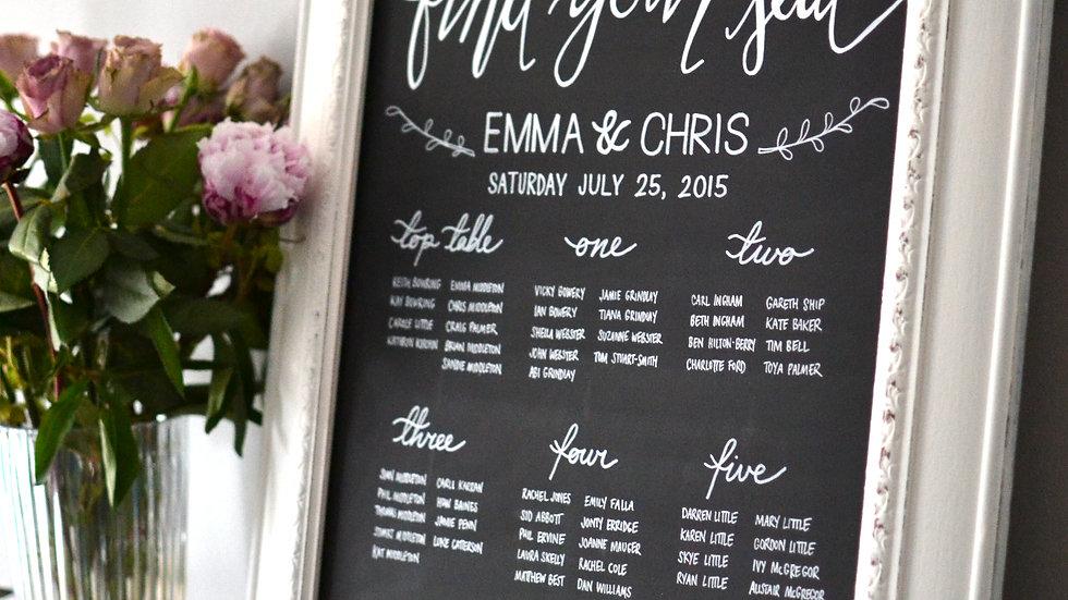 Wedding Framed Table/Seating Plan