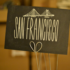 Chalkboard table number signs and stands: Sara - August 2015