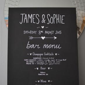 Wedding table plan and bar menu: James & Sophie - August 2015