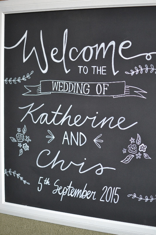Framed chalkboard welcome sign