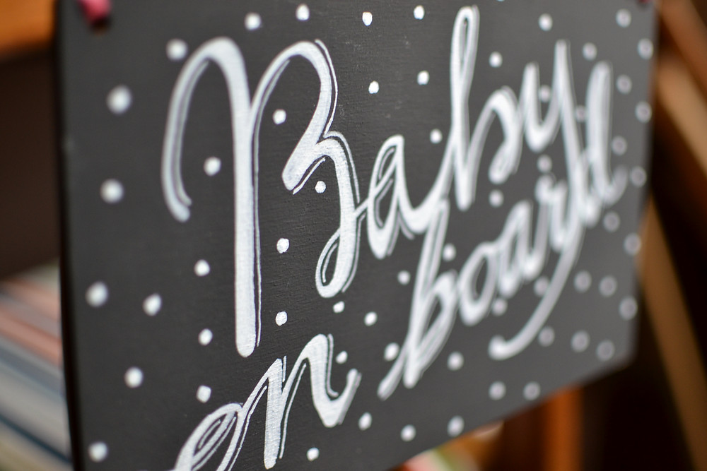 Baby on board chalkboard hanging sign detail