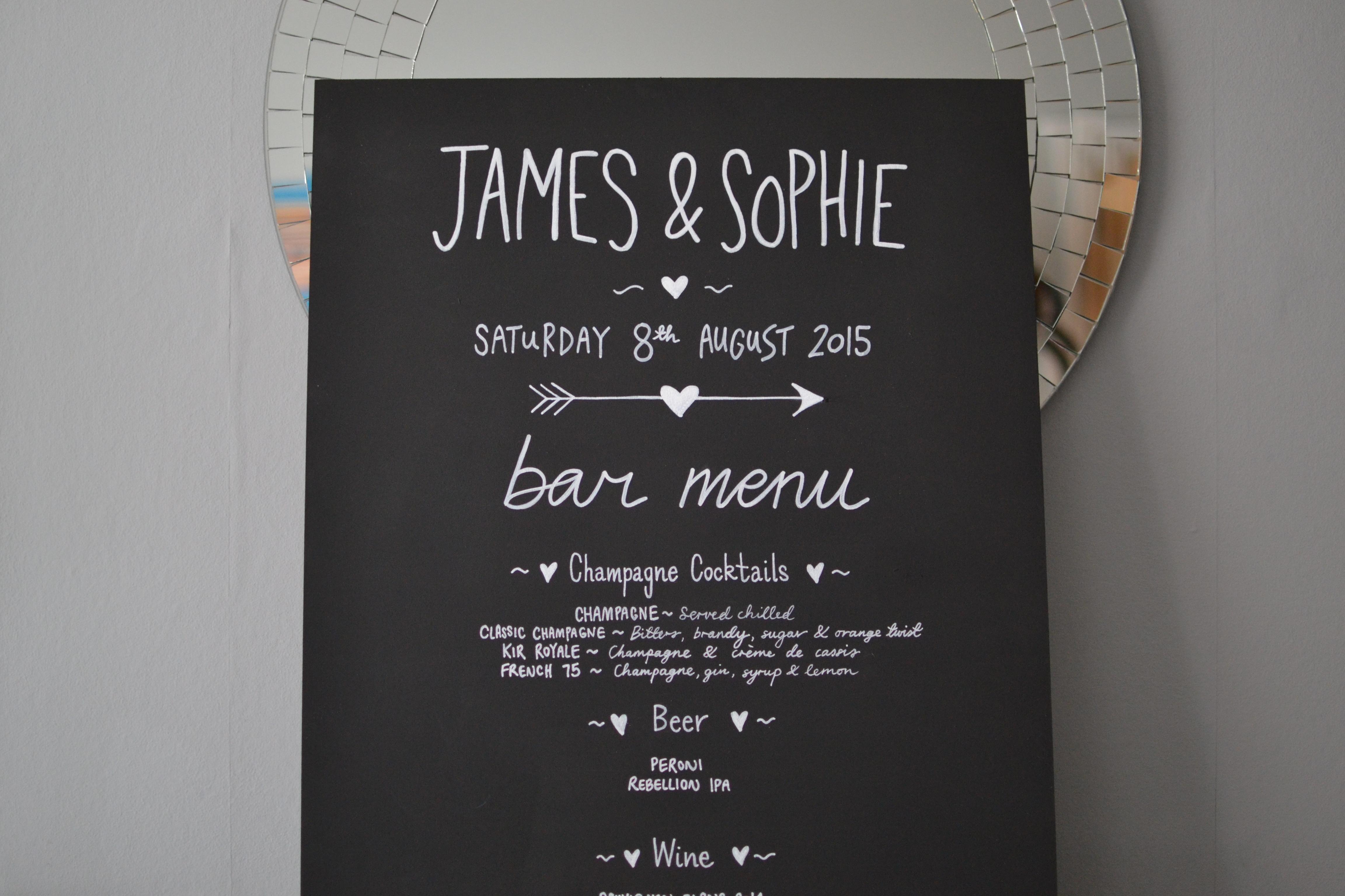 Chalkboard Bar Menu Sign for Wedding