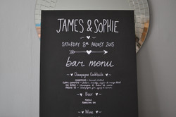 Chalkboard Bar Menu Sign for Wedding