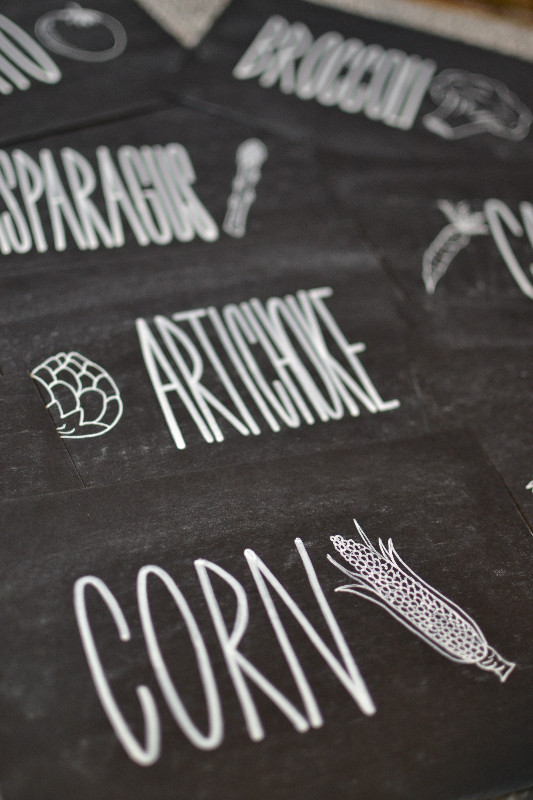 Chalkboard vegetable themed table number signs