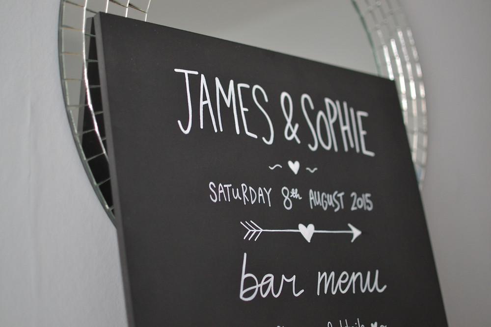 Chalkboard bar menu sign