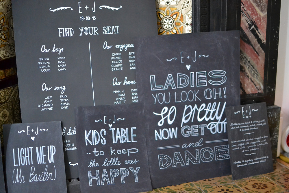 Chalkboard table plan and assorted chalkboards