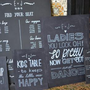 Wedding chalkboards: Emma - September 2015