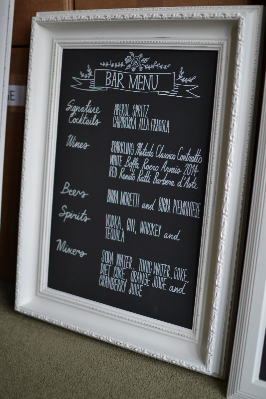 Framed chalkboard bar menu sign