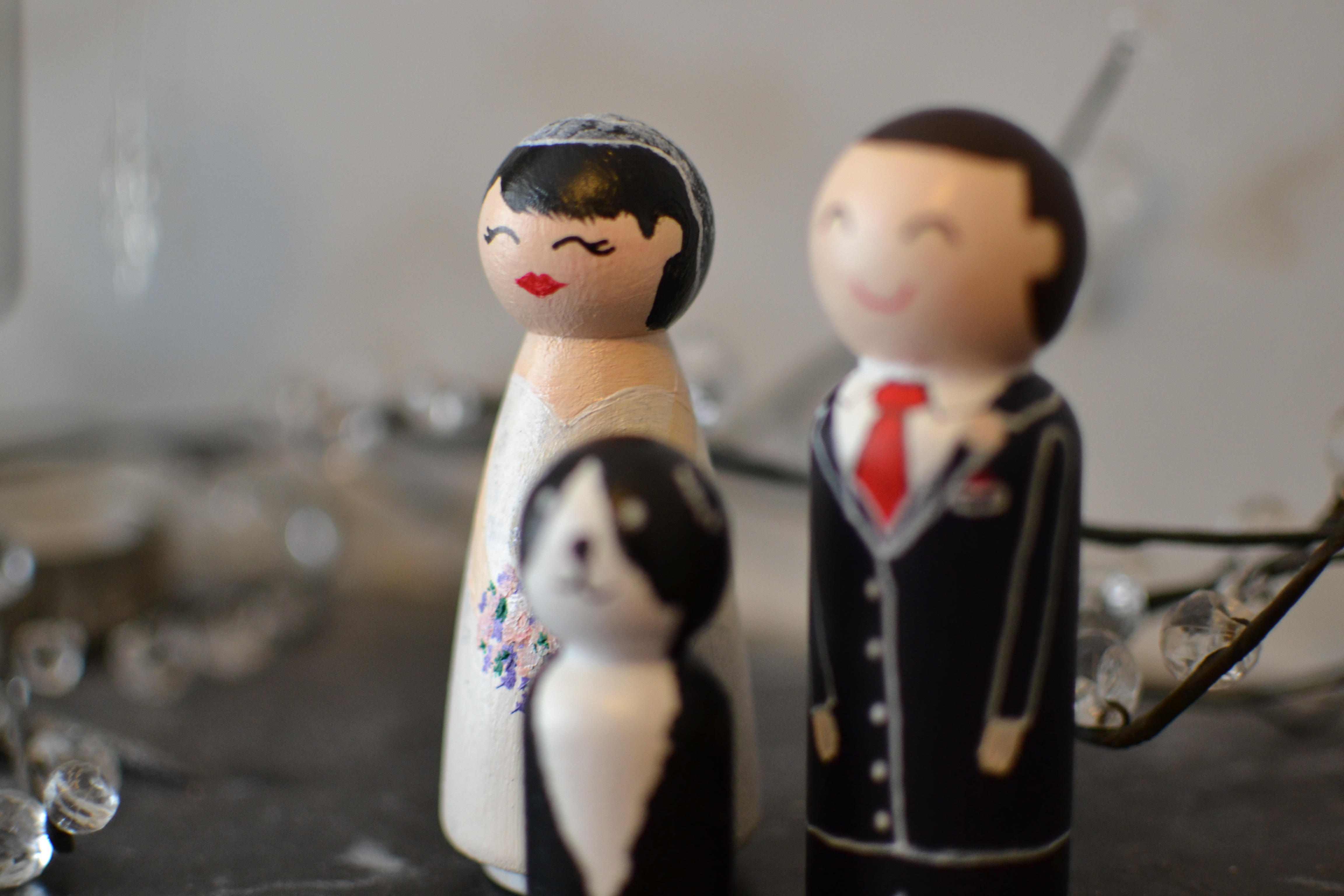 Wedding Cake Topper Couple and Dog