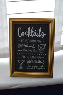 Framed chalkboard bar sign