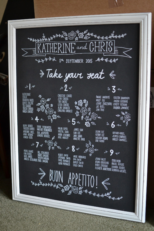 Framed chalkboard table plan sign