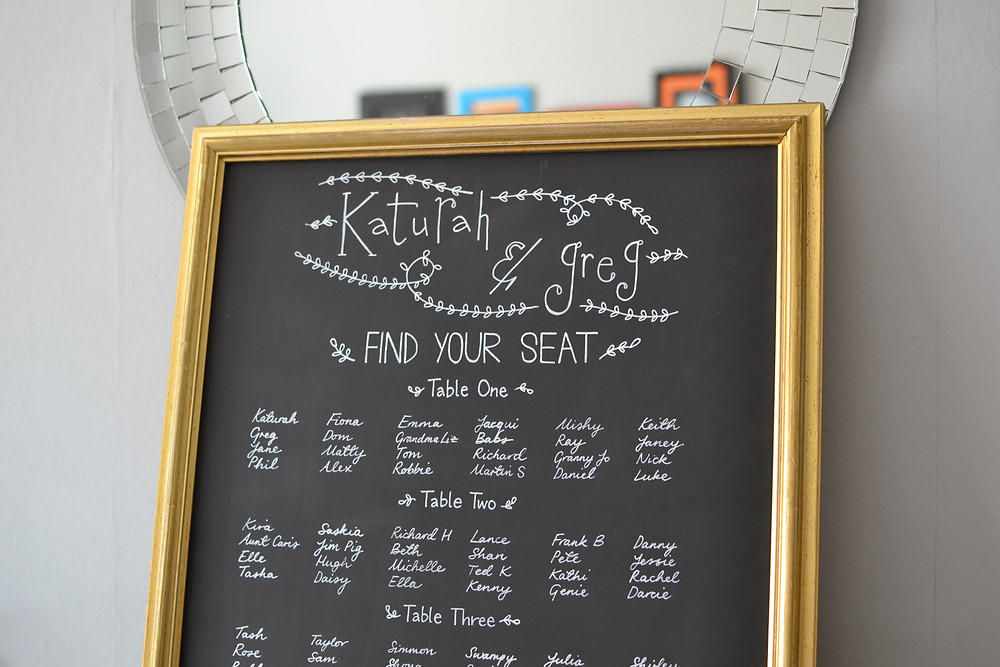 Framed seating plan chalkboard