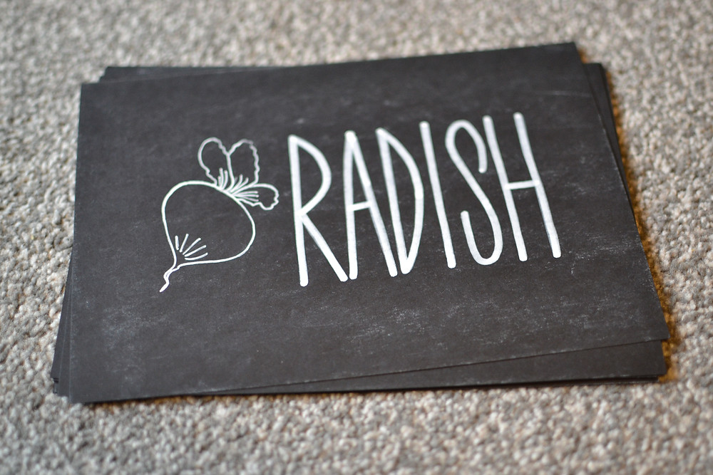 Chalkboard table number sign - vegetable theme, radish