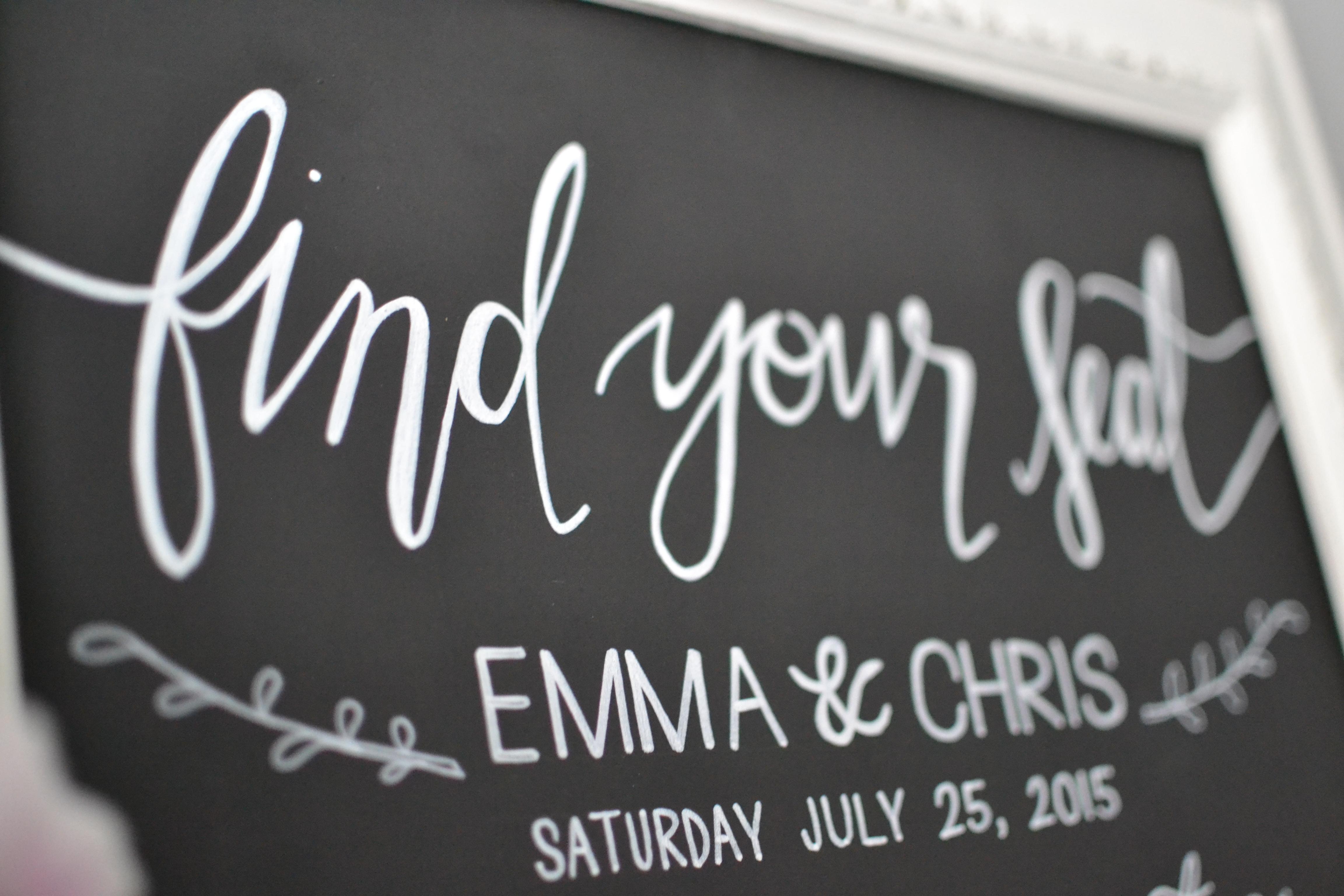 Framed Wedding Table Plan Chalkboard