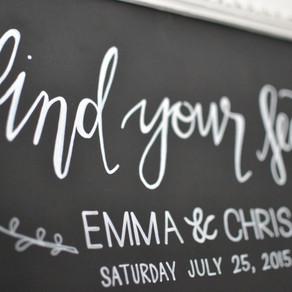 Framed wedding table plan: Emma & Chris - July 2015